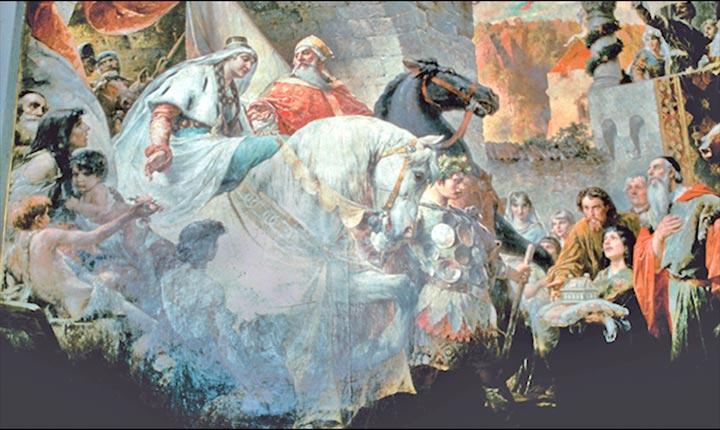 """Gemälde """"Einzug der Nibelungen"""" im Großen Rathaussaal"""